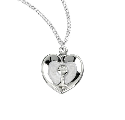 Sterling Silver White Heart with a Chalice