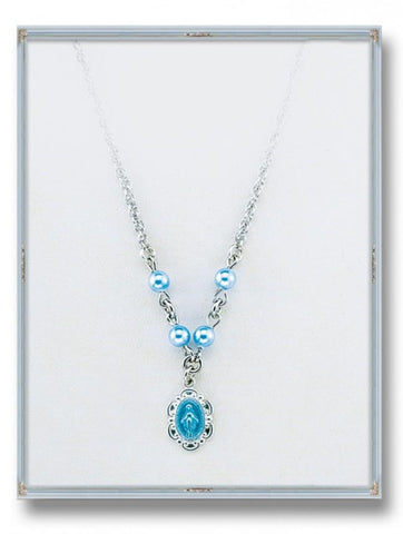 "Blue Swarovski Pearls Miraculous Pendant with Sterling Silver Blue Enamel  18"" Chain"