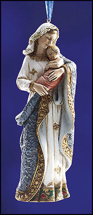 Adoring Madonna and child Hand Ornate Ornament  -  Ave Maria Collection