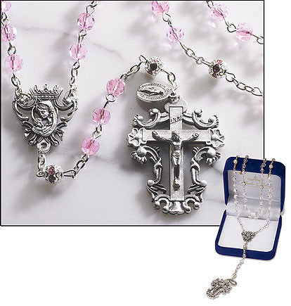 Pink Diamond Cut Crystal Rosary beautiful crucifix center  The Paola Carola Collection