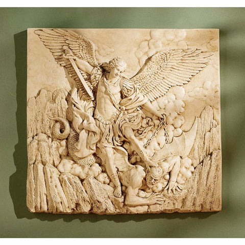 Archangel St Michael Sculptural Wall Plaque Friez  Home or Garden
