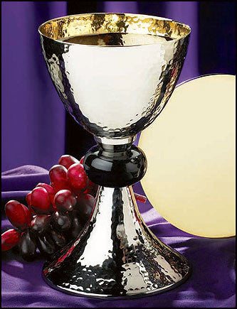 Hammered Chalice With Paten Communion Set