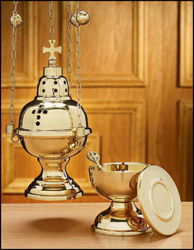 Eastern Rite Brass Censer With 12 Bells Chain And Boat Set For Church Incense