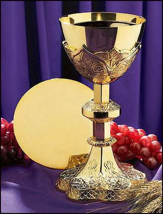 Vine Embossed Communion Chalice and Paten Set