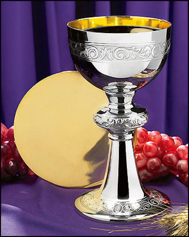 Ornamented Chalice and Paten Communion Set