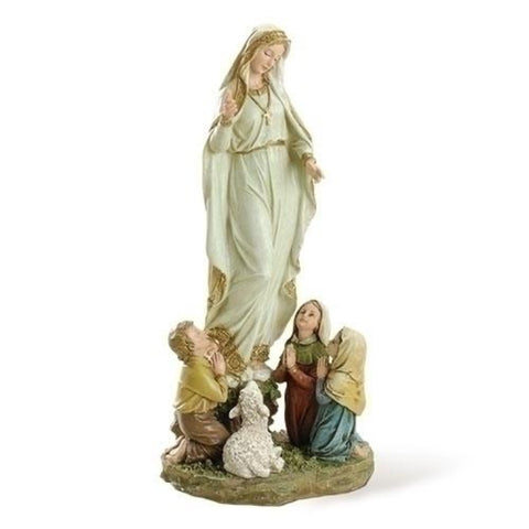 "Our Lady Of Fatima With Children Statue  12"" Tall"