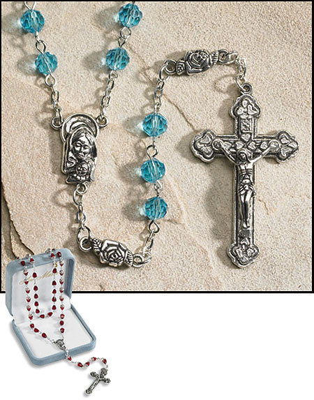 Light Blue Crystal March Birthstone Rosary