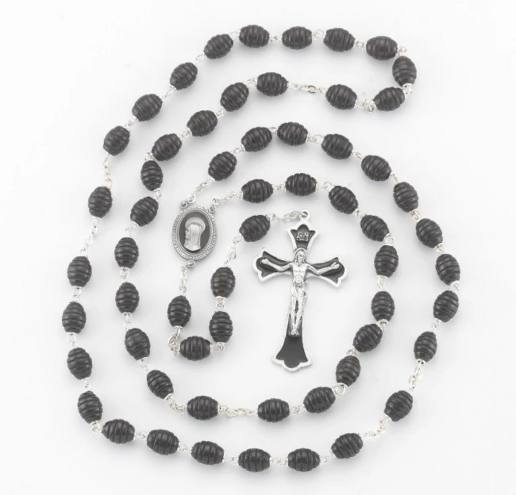 Black Wooden Rosary Madonna Centerpiece - New England Pewter Rosary