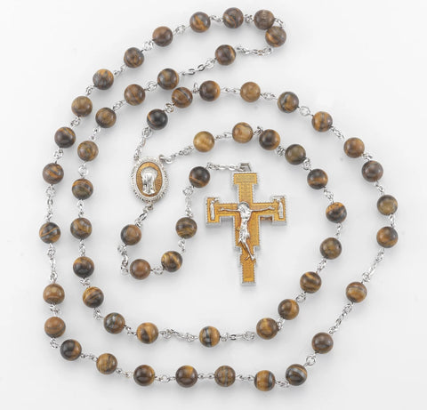 San Damiano Tiger Eye New England Pewter Rosary