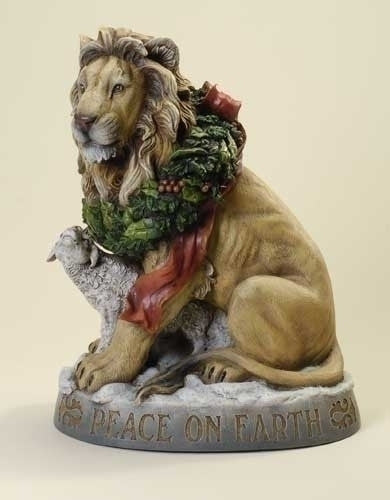 "Lion And Lamb  Peace On Earth Christmas Statue  Josephs Studio 19.5"" Tall"