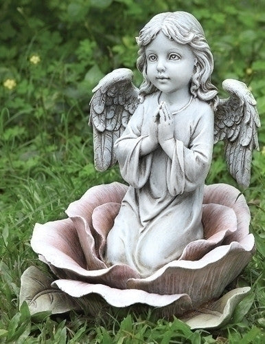 "Praying Angel In A Rose Garden Statue 11"" Tall Guardian Angel Memorial"