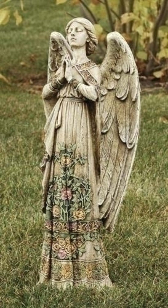 "Praying Guardian Angel with Roses 24"" Tall Chapel Garden or Home Peaceful Figure"