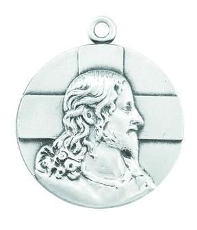 Sterling Silver Profile Of Jesus Christ Medal On Chain