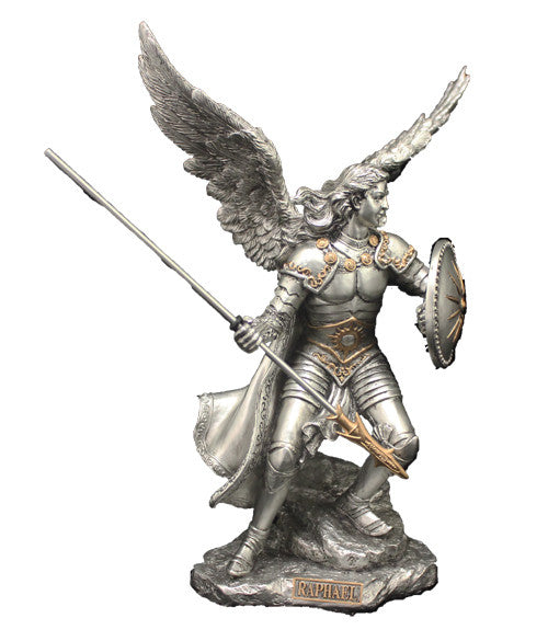 Archangel Raphael Healing Statue Pewter Style   Veronese Collection