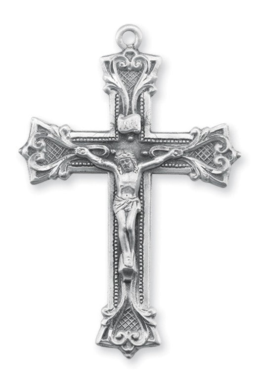 Sterling silver gothic style cross on chain