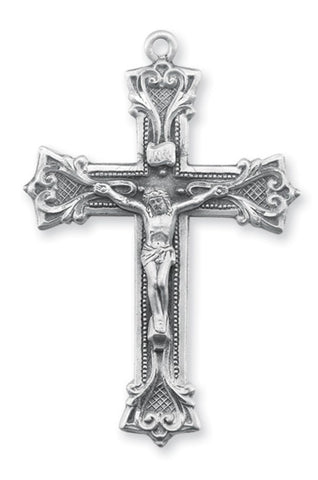 Sterling Silver Gothic Scroll Style Crucifix On Chain