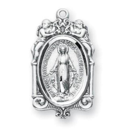 Madonna Sterling Silver Miraculous Medal With Cherubs On Chain