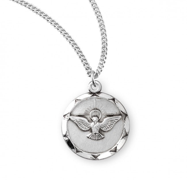 Sterling silver holy spirit medal pendant on chain