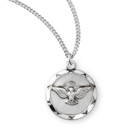 Sterling Silver Holy Spirit Medal On Chain