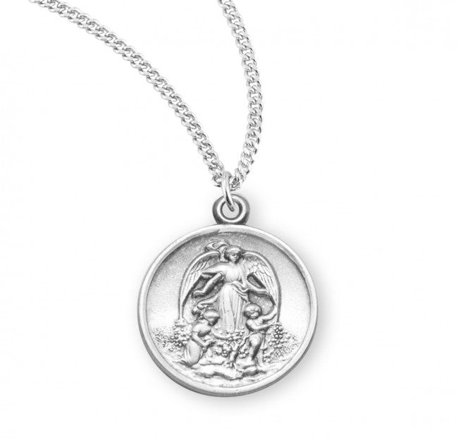 Guardian angel round medal-pendant.