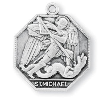 Saint Michael Octagon Sterling Silver Medal Modern Style Catholic Pendant