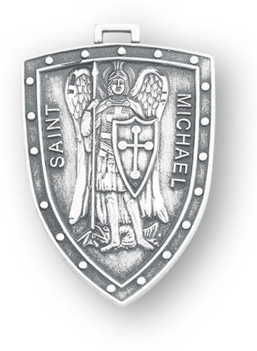 Saint Michael Sterling Silver Shield Medal Made In USA