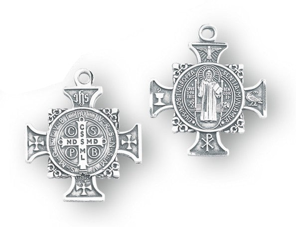 Sterling silver Saint Benedict cross medal on chain