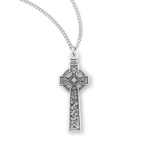 Sterling Silver Irish Celtic Cross On Chain