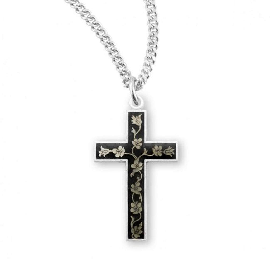 Black foral sterling silver cross on chain