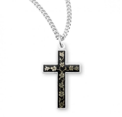 Black Flora Enameled Sterling Silver Cross