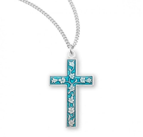 Blue Floral Enameled Sterling Silver Cross