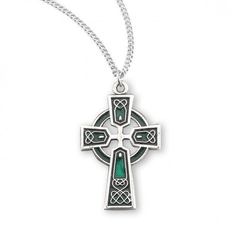 Sterling Silver Green Celtic Cross Pendant On Chain