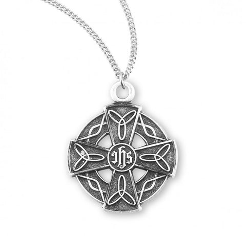 Irish Celtic Sterling Silver Cross Pendant On Chain