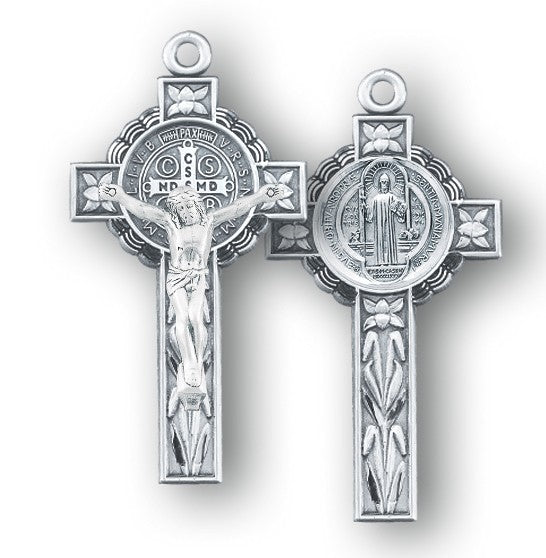 Sterling silver ornate saint benedict crucifix