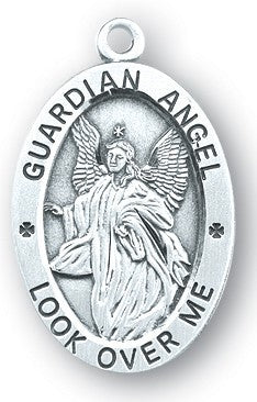 Guardian Angel Watch Over Me Oval Sterling Silver Devotion Medal On Chain
