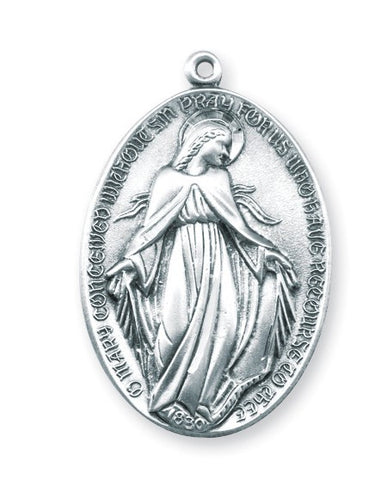 Sterling Silver Art Deco Style Profile Of Madonna Miraculous Medal On Chain