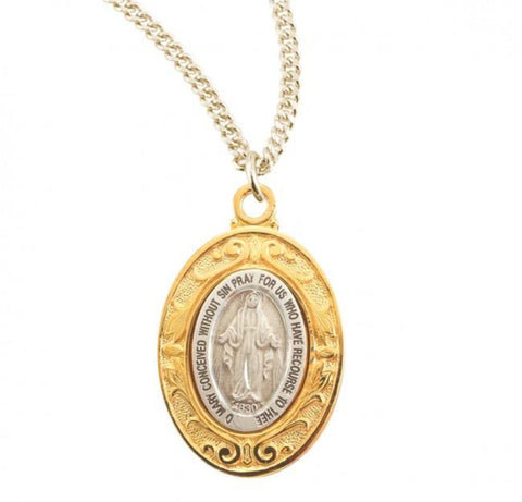 Madonna Sterling Silver Oval Miraculous Medal