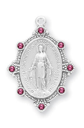 Sterling Silver Oval Madonna Miraculous Medal With Pink Austrian Crystals