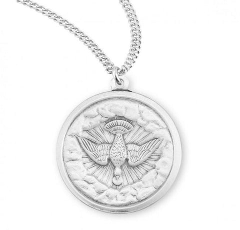 Holy Spirit Sterling Silver Medal On Chain  Confirmation Gift