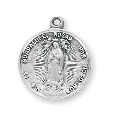 Our Lady of Guadalupe Sterling silver medal on chain