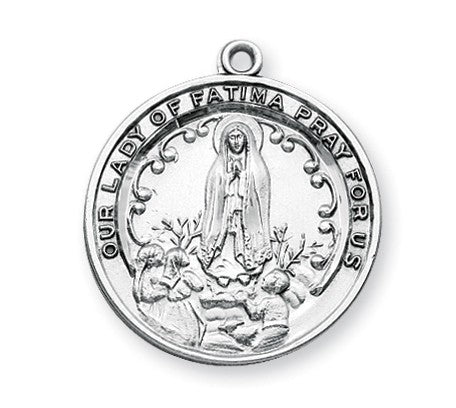 Our Lady Of Fatima Round Sterling Silver Medal On Chain Catholic Gift