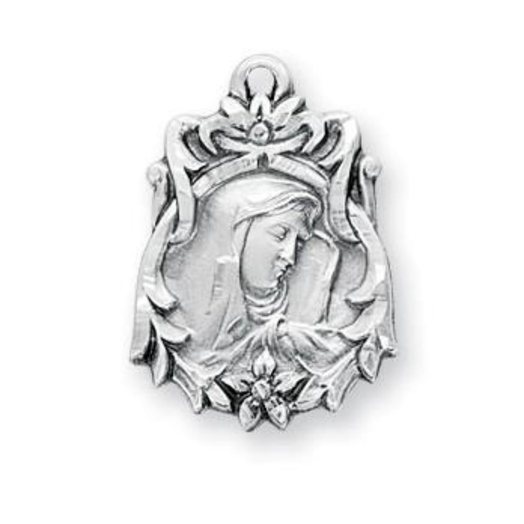 Our Lady of sorrows sterling silver pendant on chain