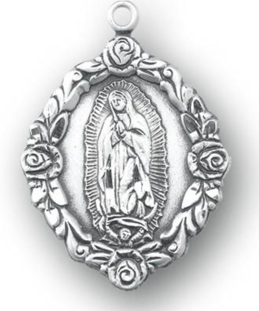 Sterling silver Our Lady of Guadalupe  with roses medal on chain