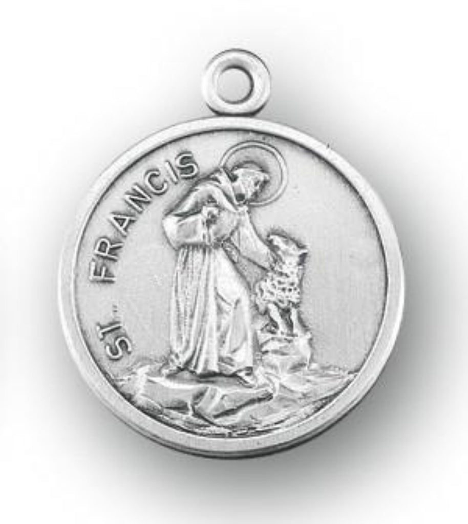 Sterling silver saint francis with wolf medal on chain