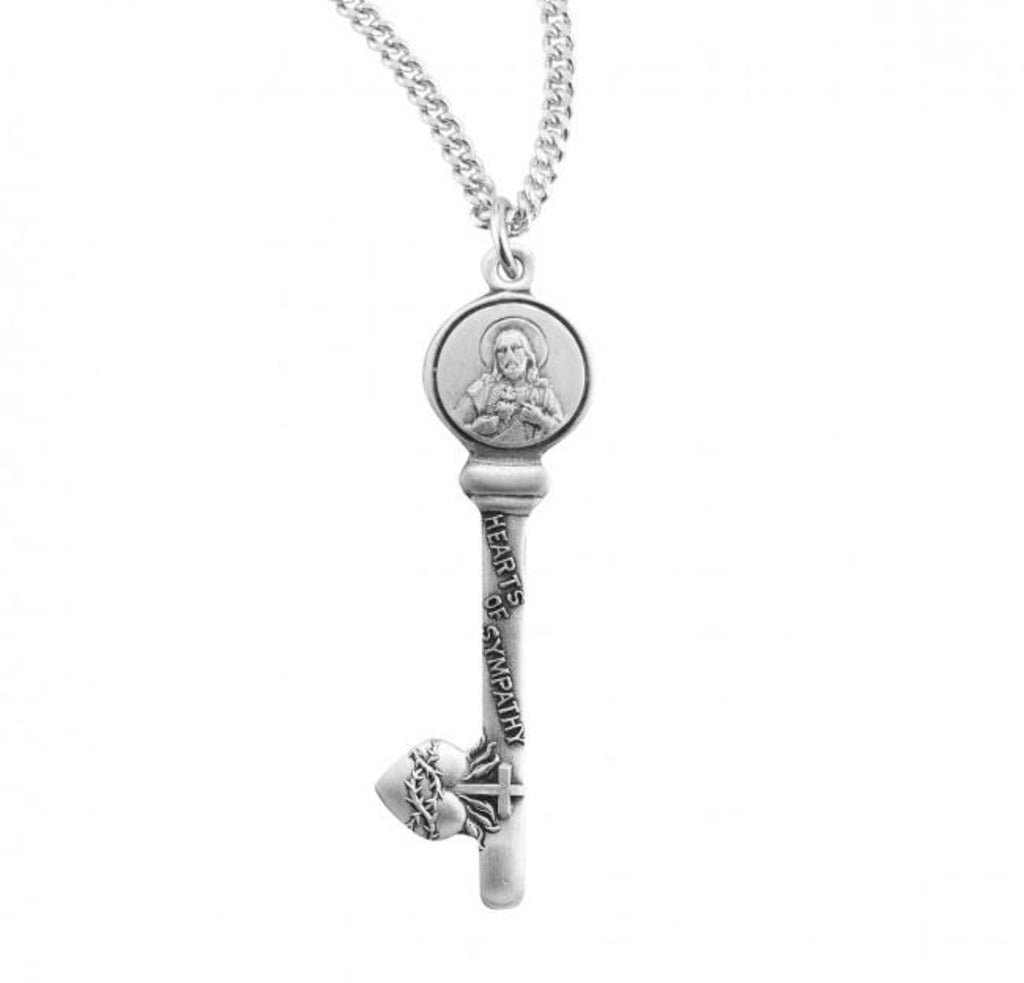 Hearts of Sympathy Sterling Silver Key Pendant Memorial Gift