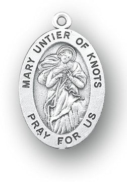 Our Lady of Knots sterling silver medal on chain
