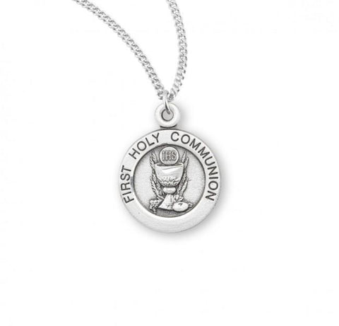 Sterling Silver First Communion Pendant On Chain