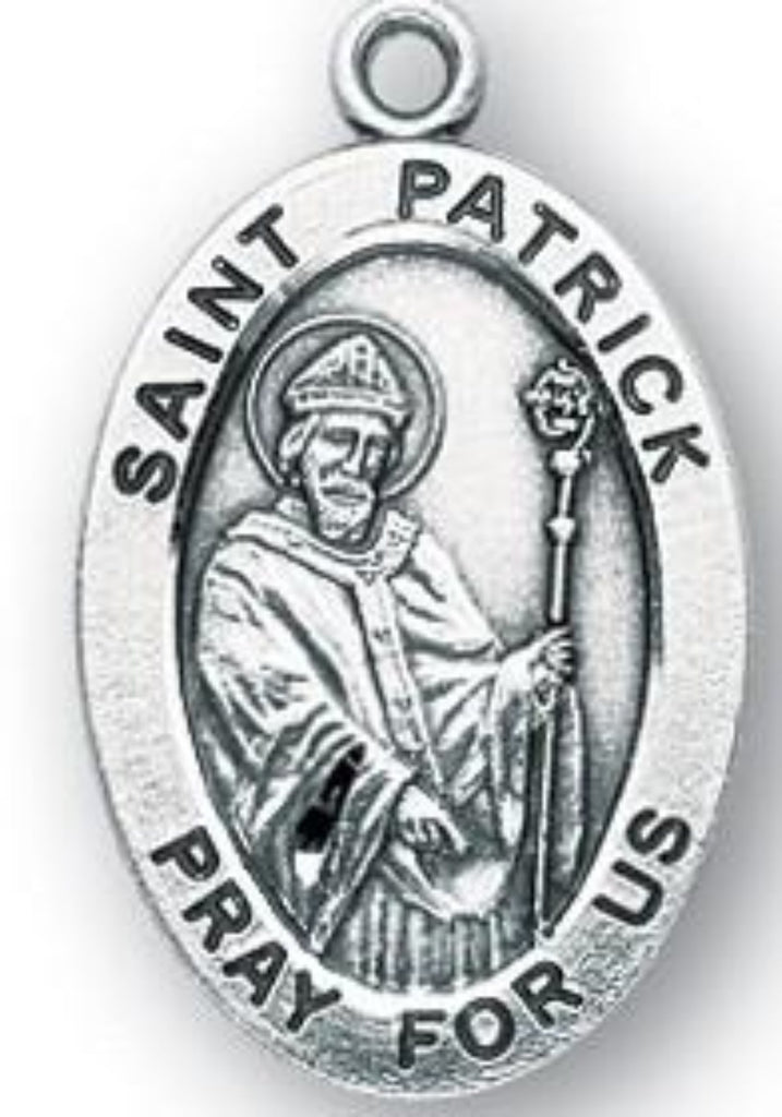 Saint Patrick oval sterling silver patron st medal on chain