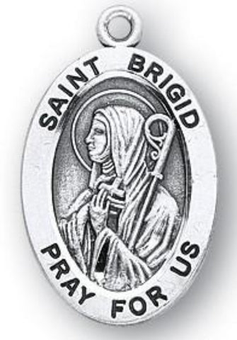 Saint Brigid Sterling Silver Medal On Chain Made In USA