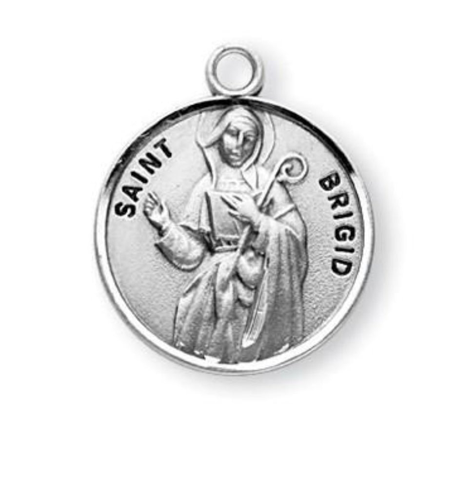Saint Brigid Round Sterling Silver Medal On Chain
